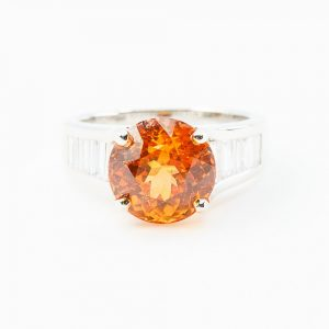 18k White Gold Natural Spessartine Garnet and Baguette Diamond Ring