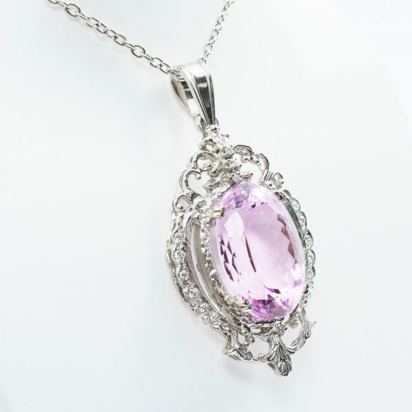 14k White Gold Natural Diamond and Kunzite Halo Estate Pendant