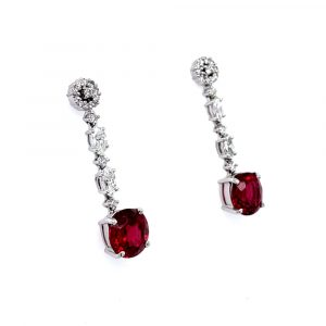 18k White Gold Spinel and Diamond Dangle Earrings