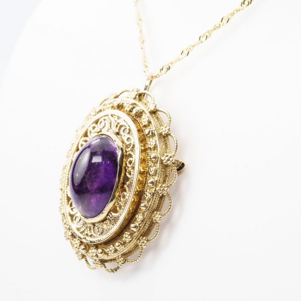 14k Yellow Gold Cabochon Amethyst Estate Pin/Pendant