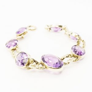 14k Yellow Gold Amethyst Estate Bracelet