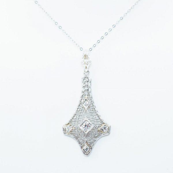 14k White Gold Lavalier Diamond Estate Pendant