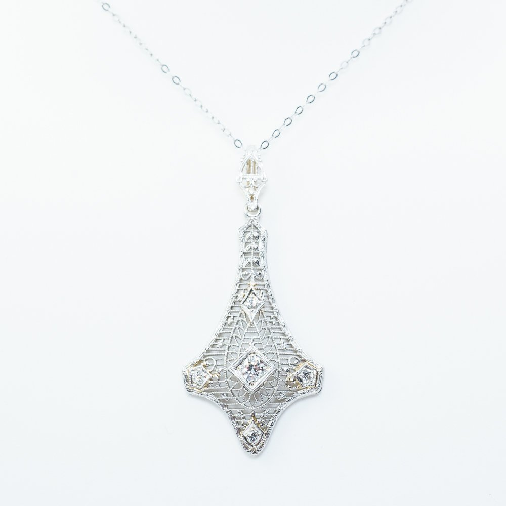 14k White Gold Lavalier Diamond Estate Pendant