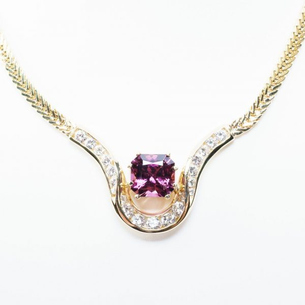 14k Yellow Gold Natural Diamond and Rhodolite Garnet Custom Necklace