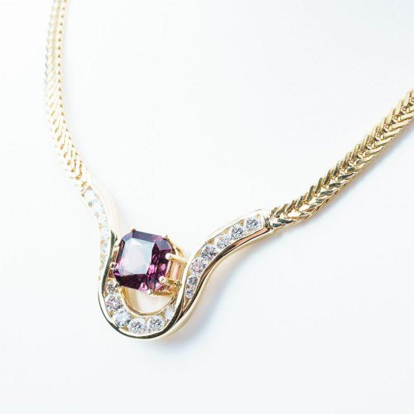 14k Yellow Gold Natural Diamond and Rhodolite Garnet Custom Necklace