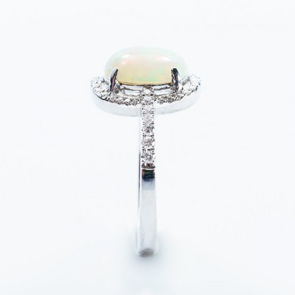 18k White Gold Ethiopian Opal and Diamond Halo Ring
