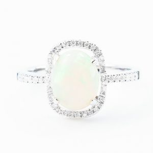 18k White Gold Ethiopian Opal and Diamond Halo Ring