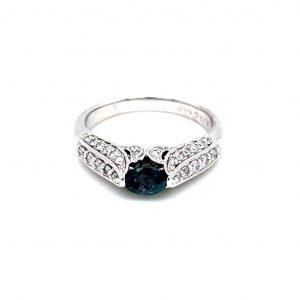 14k White Gold Alexandrite and Diamond Filigree Ring