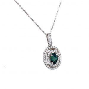 14k White Gold Alexandrite and Diamond Halo Pendant