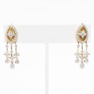 18K Yellow Gold Natural Diamond Dangle Estate Earrings