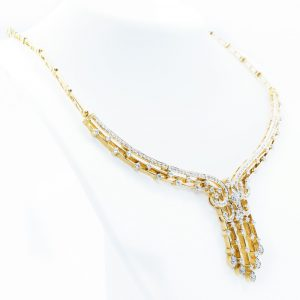 18k Yellow Gold Natural Diamond Necklace