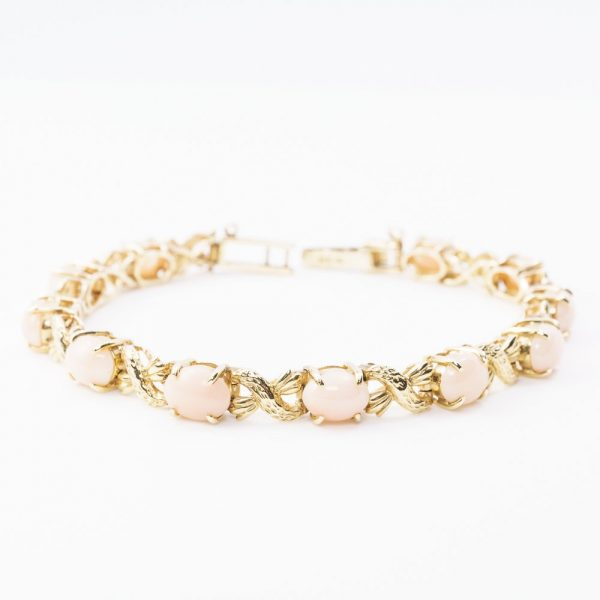 14k Yellow Gold Pink Coral and Textured Crossover Estate Bracelet
