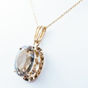 14k Yellow Gold Smokey Quartz Estate Pendant
