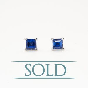14k White Gold Natural Blue Sapphire Stud Earrings