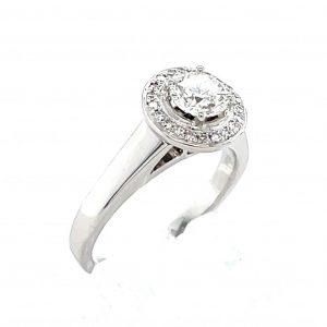 18k White Gold Diamond Halo Ring