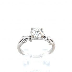 14k White Gold Forever One Round Moissanite Twist Ring
