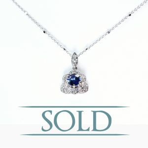 14k White Gold Natural Blue Sapphire and Diamond Floral Pendant