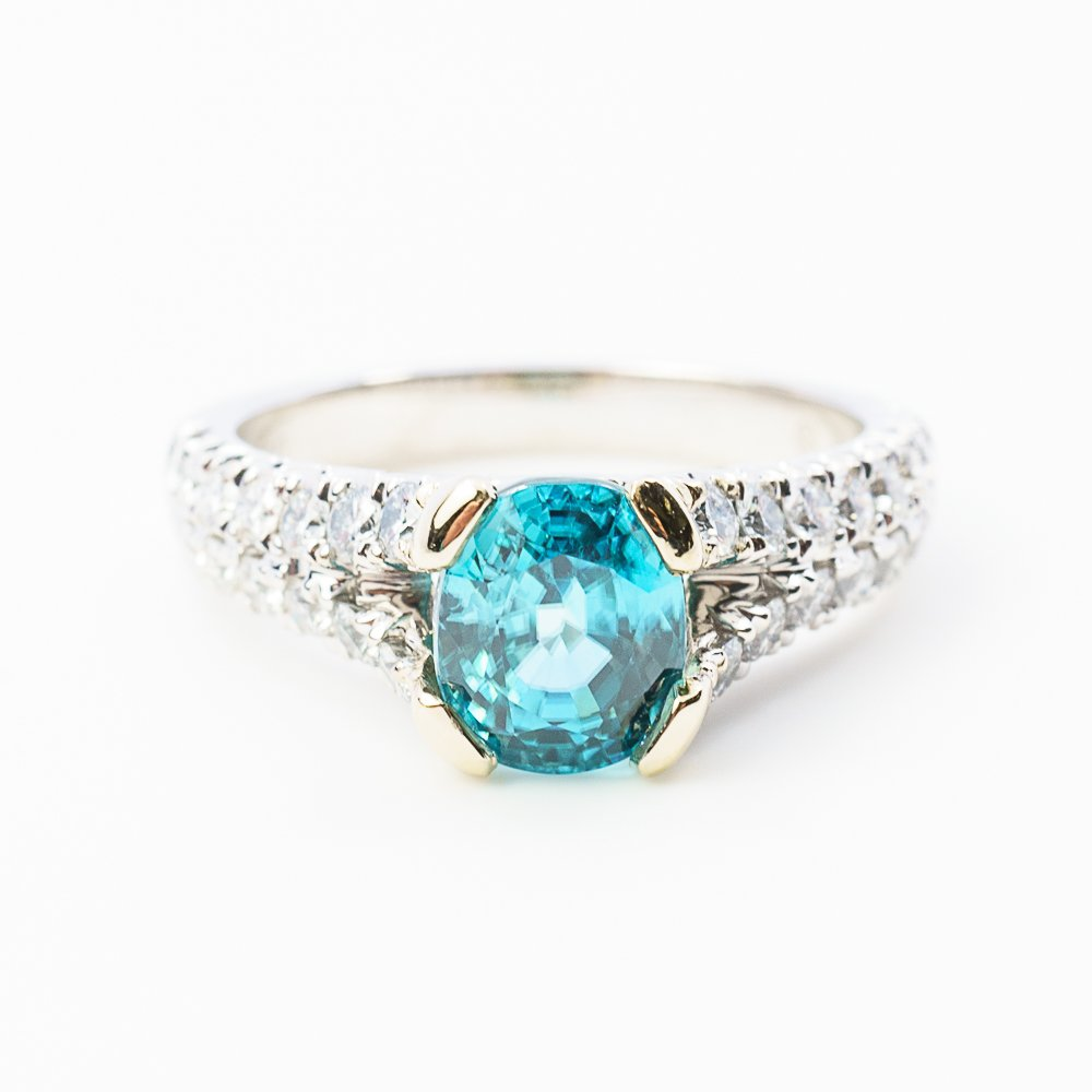 18k White Gold Natural Cushion Blue Zircon and French Set Diamond Ring