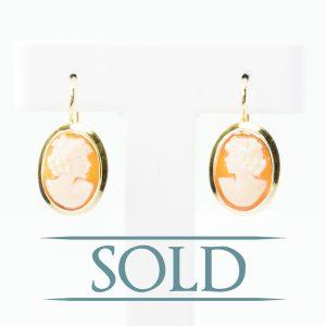 18k Yellow Gold Estate Cameo Dangle Earrings