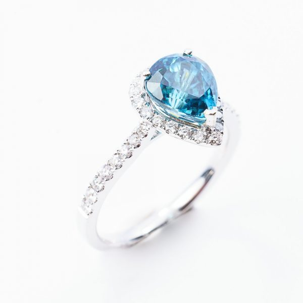 14k White Gold Natural Blue Zircon and Diamond Halo Ring