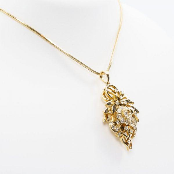 14k Yellow Gold Natural Diamond Estate Wreath Pendant