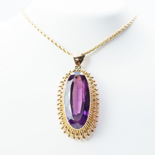14k Yellow Gold Synthetic Alexandrite Estate Pendant