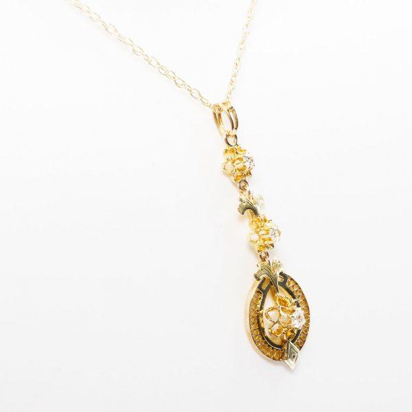 10k Yellow Gold Natural Diamond Estate Lavalier Pendant