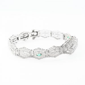 10k White Gold Natural Diamond and Synthetic Emerald Estate Bracelet