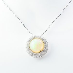 18k White Gold Natural Ethiopian Opal and Diamond Halo Pendant