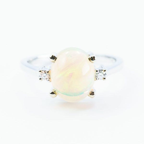 14k White Gold Natural Ethiopian Opal and Diamond 3-Stone Ring