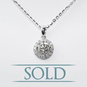 14K White Gold Natural Diamond Halo Pendant