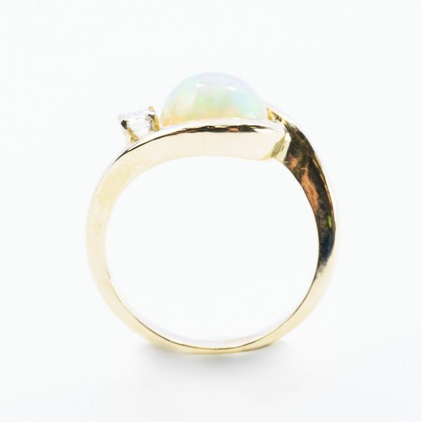 14k Yellow Gold Natural Ethiopian Opal and Diamond Freeform Ring