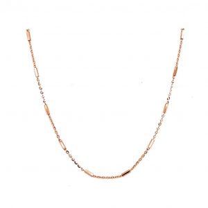 "14k Rose Gold Diamond Cut Beaded Sparkle Station Necklace 18"""