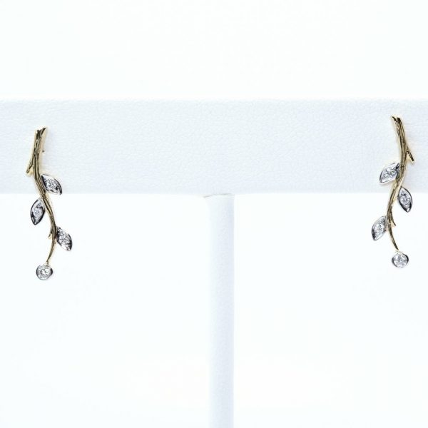 14k Yellow Gold Natural Diamond Branch Earrings
