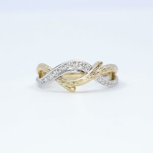 14k White and Yellow Gold Natural Diamond 2-Tone Textured Branch Ring
