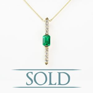 14k Yellow Gold Natural Emerald and Diamond Pendant