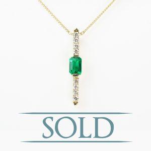 14k Yellow Gold Natural Emerald and Diamond Pendant