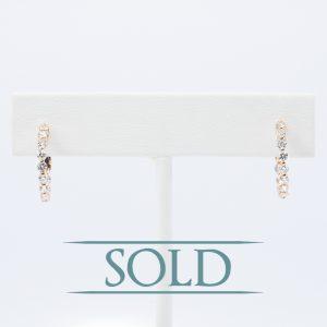 18k Rose Gold Natural Diamond Hoop Earrings