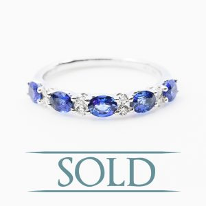 18k White Gold Natural Blue Sapphire and Diamond Ring