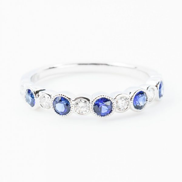 18k White Gold Natural Blue Sapphire and Diamond Band