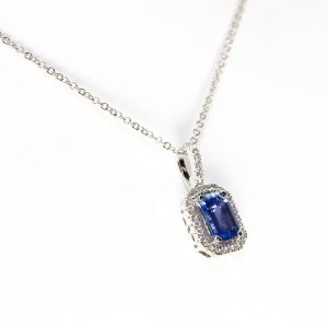 18k White Gold Natural Diamond and Ceylon Blue Sapphire Halo Pendant