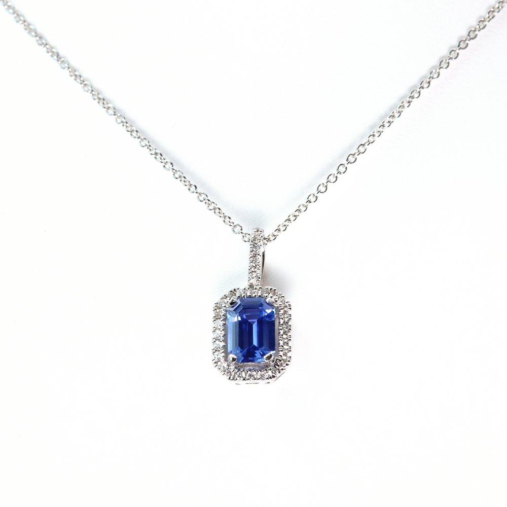 18k White Gold Natural Diamond and Ceylon Blue Sapphire Halo Pendant