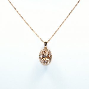 14k Rose Gold Natural Morganite and Diamond Halo Pendant