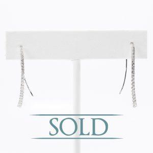 18k White Gold Natural Diamond Contour Threader Earrings