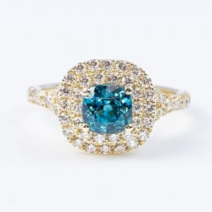 14k Yellow Gold Natural Blue Zircon and Diamond Double Halo Ring