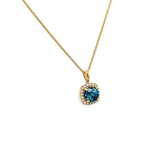 18k Yellow Gold Blue Zircon and Diamond Halo Pendant