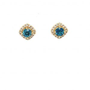 18k Yellow Gold and Natural Blue Zircon Diamond Halo Earrings