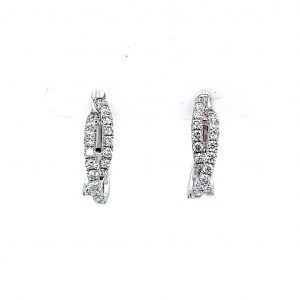 18K White Gold Natural Diamond Crossover Huggies Earrings