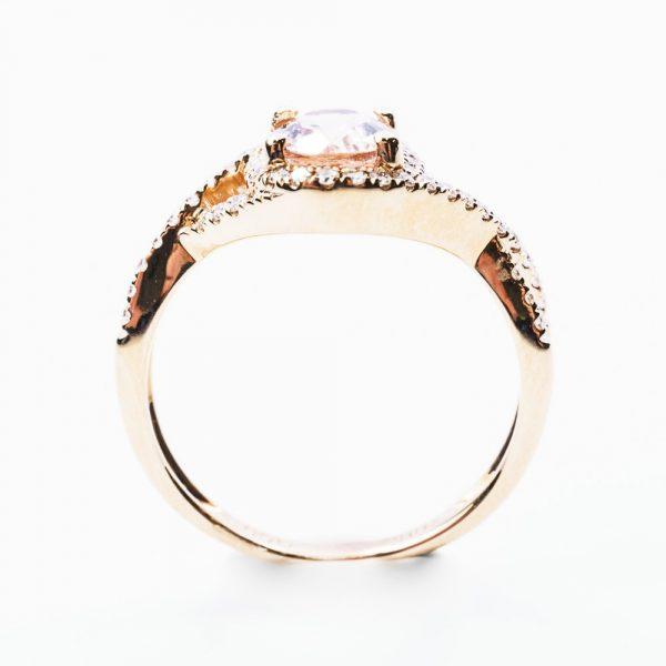 18k Rose Gold Natural Morganite and Diamond Halo Ring