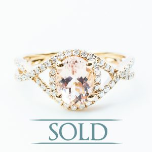 18k Rose Gold Natural Morganite and Diamond Halo Ring